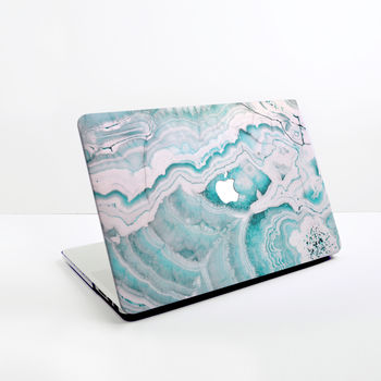 Turquoise And White Stone Marble Design Mac Book Case