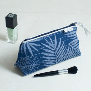 Mini Make Up In Navy Leaf Print