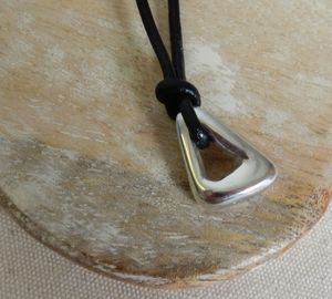 Silver Triangle Pendant And Leather Necklace - necklaces & pendants