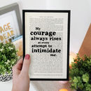 Empowering 'Courage Always Rises' Book Page Art