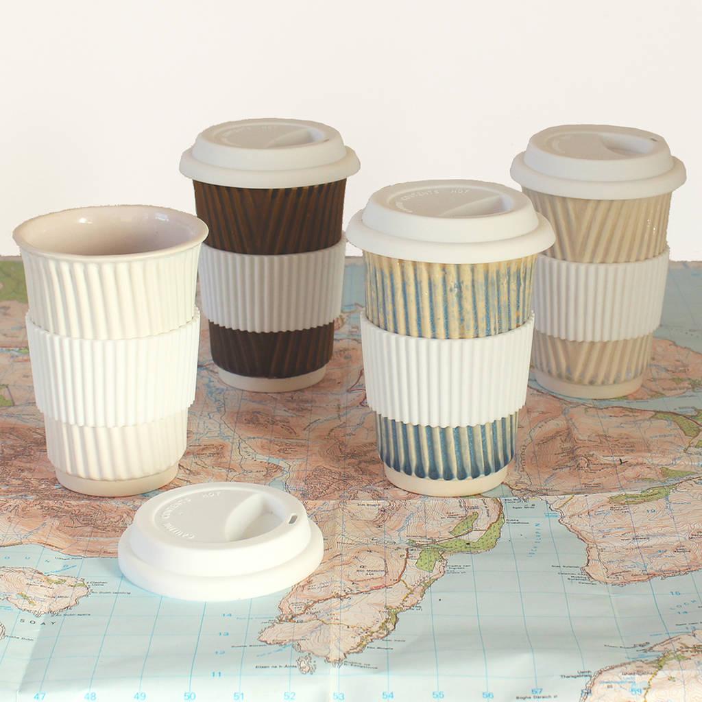 Ceramic Travel Mug Eco Coffee Cup With Lid Sleeve By Helen