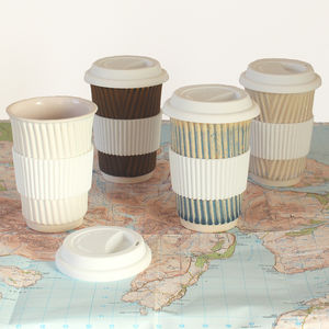 Ceramic Travel Mug Eco Coffee Cup With Lid/Sleeve