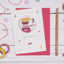 Superhero Girl Badge Birthday Card
