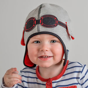 Baby's Pilot Hat With Goggles Grey