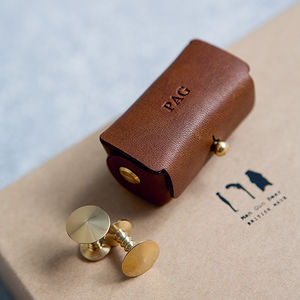 Denzil Bronze Cufflinks With Personalised Pouch - 21st birthday gifts