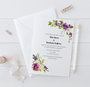 Watercolour Bouquet Wedding Invitation - invitations