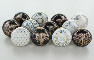 G Decor Set Of 12 Reverse Colours Ceramic Door Knobs - home accessories
