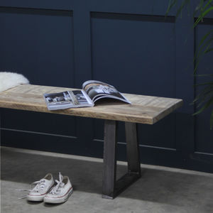 Woburn Reclaimed Wood Bench With Steel U Frame - furniture