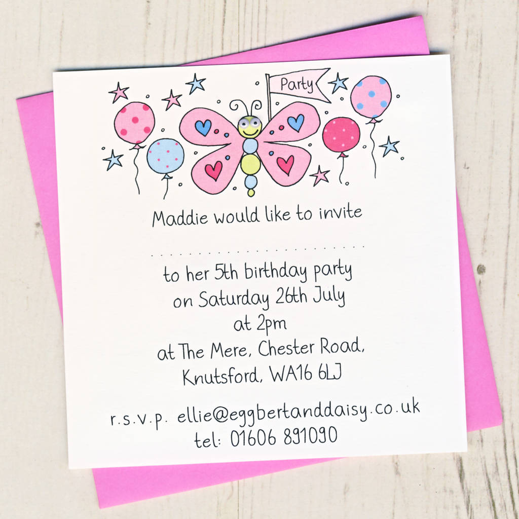 personalised butterfly party invitation pack by eggbert daisy