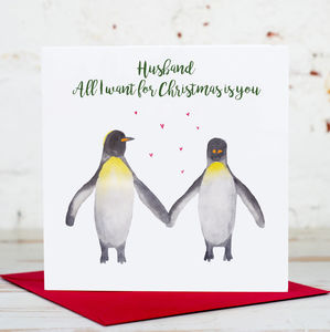 Husband Penguin Couple Christmas Card