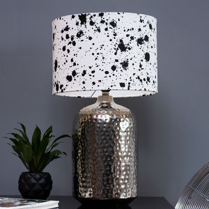 Monochrome Ink Splatter Effect Lampshade - lighting