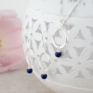 Aida Lapis Lazuli Pendant And Earring Set - jewellery sets