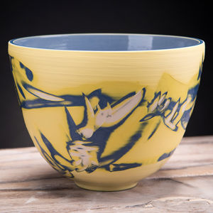 Handmade Ceramic Deep Centre Bowl Yellow - tableware