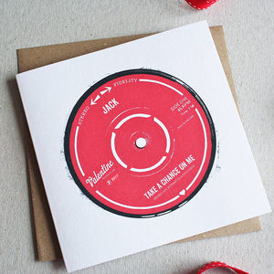 Personalised Record Label Valentine's Card - valentine's cards