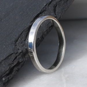 9ct White Gold Flat Wedding Band - rings