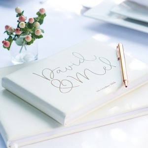 Ivory Personalised Leather Script Guest Book - last minute wedding details