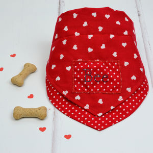 Personalised Dog Neckerchief : Hearts And Polka Dots