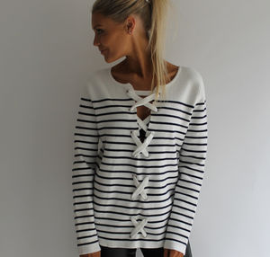 Mono Stripe Lace Back Jumper - women's fashion