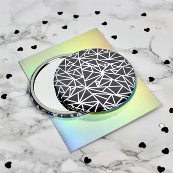 Geometry Chaos Black Pocket Mirror
