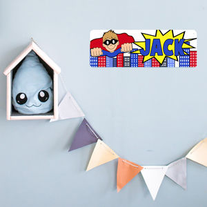 Personalised Superhero Bedroom Name Plaque - decorative accessories
