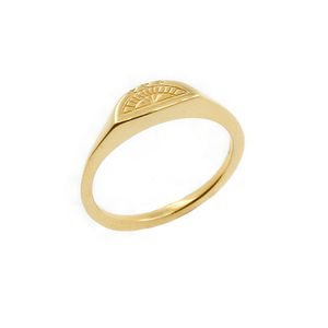 Moon Signet Ring Silver/9ct Solid Gold