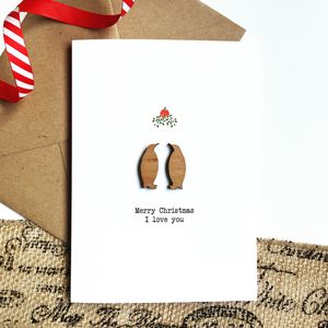Mistletoe Penguin Christmas Card With Wooden Detail - cards & wrap