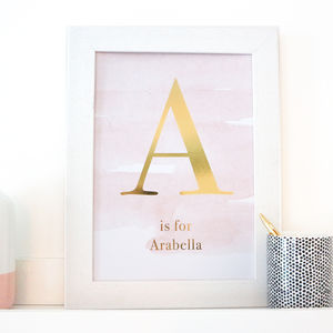 Gold Foil Blush Pink Initial Nursery Print - new in home