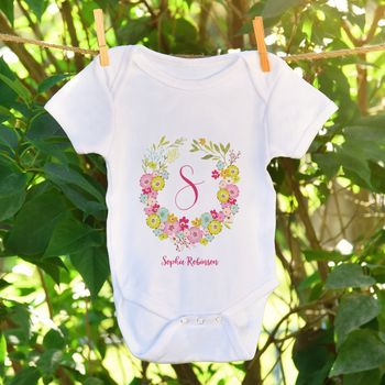 Personalised Name And Initial Floral Baby Grow