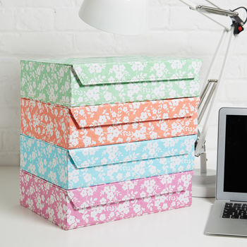Recycled Daisy Print A4 Storage Box