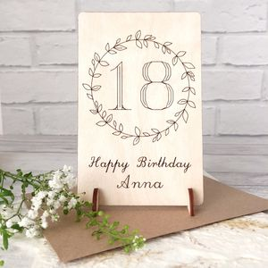 Personalised 18th Birthday Wooden Card - birthday cards
