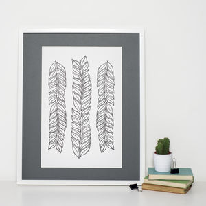 Black And White Leaves Art Print - natural materials