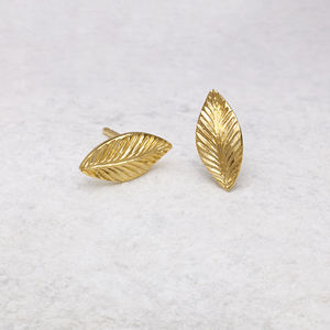 18ct Gold Vermeil Leaf Stud Earrings - goddess collection