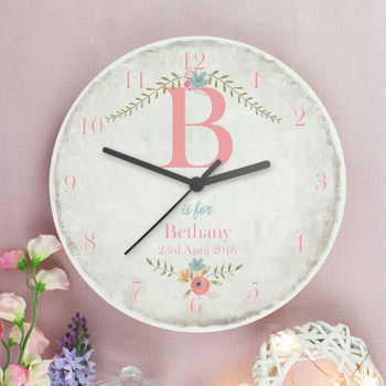 Personalised Floral Large Wooden Clock