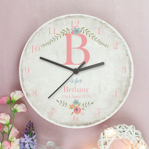 Personalised Floral Large Wooden Clock - baby's room