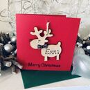 Personalised Reindeer Christmas Card Wooden Decoration