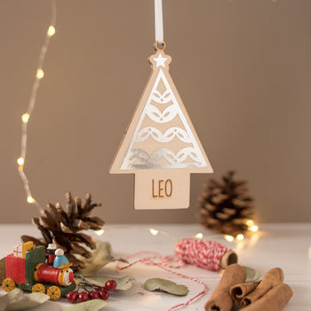 Personalised Wooden Tree Bauble