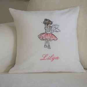 Personalised Children's Embroidered Ballerina Cushion