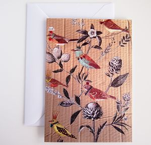 Birds And Flowers Birthday Greetings Card - all purpose cards