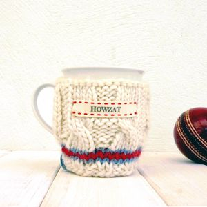 Personalised Knitted Cricket Jumper Mug Cosy - tableware