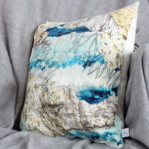 British Coastline Watercolour Natural Linen Cushion