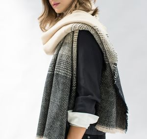 Fawn To Black Herringbone Scarf