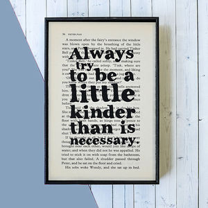 Kindness Quote J.M. Barrie Framed Book Page - what's new