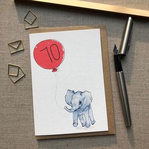 Personalised 70th Birthday Elephant Card