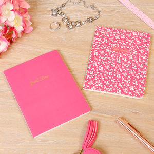 Set Of Two Great Ideas Neon Pink A6 Notebooks