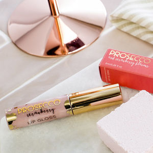 Prosecco And Strawberry Flavoured Lip Gloss In Nude - love tokens