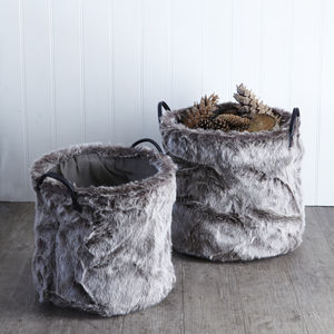Faux Fur Set Of Two Baskets - baskets