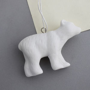 Hanging White Porcelain Polar Bear Decoration