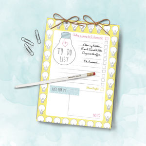 Bright Ideas A5 Daily Notepad To Do List And Pencil Set - writing