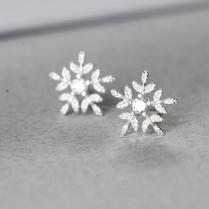 Silver Glistening Snowflake Earrings Studs Or Necklace - winter sale