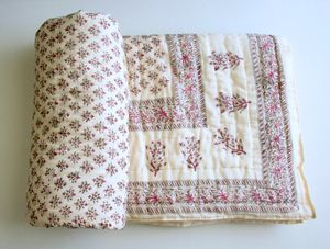 Jaipuri Block Printed Cotton Filled Quilt - bedspreads & quilts